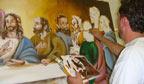 Tela da Santa Ceia pintada em menos tempo
